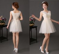 Wholesale 2014 Winter Cheap High Quality Party Dresses Ball Gowns Princess V Neck Lace Up Champagne Short Dress Celebrity Tulle Pageant Prom G28