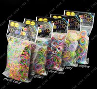 Cheap Quality Loom Bands Glitter Jelly Glow in the dark Dual Color Multi Color Rubber Bands Loom Band Wrist Bracelet (600 bands + 24 clips) 500+