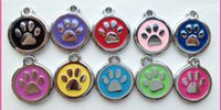 Wholesale 2014 High Quality colorful fashion cute dog paw print Jewelry Alloy Pet Dog Cat ID Card Tags Necklace ornaments Keychain