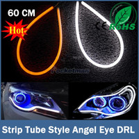 Wholesale 2x cm White Amber Flexible Headlight Head lamp Switchback Strip Tube Style Angel Eye DRL Decorative Light Switch back order lt no track