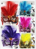 Wholesale Women Sexy Hallowmas Venetian Mask Masquerade Masks With Flower Feather Mask Dance Party Mask freeshipping