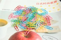 Wholesale Candy Color New Practical Paper Clips Pin Vinyl Coated Paperclip Office Stationery