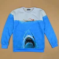 Cheap 2014 New 3D funny sweatshirts for men women novelty printed swimming naked woman & shark creative pullover hoodies autumn wear