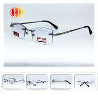 Wholesale 2016 new arrival men black trimming diamond cut metal rimless reading glasses gafas high quality designed reading glasses