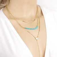 bead neclace - New Fashion Women Gold Choker Neclace Lovely Heart Bar Stick Turquoise Beads Multilayer Alloy Chain Necklaces NX103