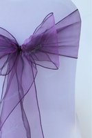 purple chair covers - CHAIR SASHE purple cm Home Wedding Patry Banquet Decor Organza Chair Cover Sashes hot