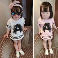 Cheap Summer Baby's clothes children clothing Love Tshirt+Lace tutu Skirt girl's dress set baby skirt suit