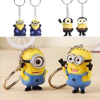 rubber keychain - 2Pcs set Styles Despicable Me Minion Toy Rubber KeyChain D Eyes Cartoon Soft Plastic Couple Keychains