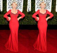 Wholesale Latest nd Golden Globe Helen Mirren Long Sleeve Red Elegant Mermaid Bead Satin Evening Prom Party Celebrity Dresses