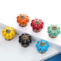 Wholesale Ceramic Europe Vintage Pumpkin Cabinet Drawer Knob Door Handle Pull Drawer D0125