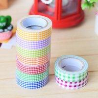 Wholesale 2016 X mm Fabric Washi Decorative DIY Tape Grid Crafts Adhesive Scrapbooking Sticker Random Color