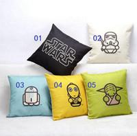 Wholesale 200pcs Styles Star Wars Cotton Linen Decorative Throw Pillow Case Sofa Chair Cushion Cover Home Decoration quot x18 quot x45cm