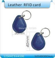 Wholesale RFID Proximity Access Control Card rfid tag Khz ID card Leather keychain