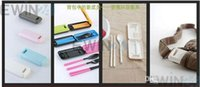Wholesale New Outdoor ABS Material Eco friendly Folding Chopsticks Spoon Fork Set Box Storage Tableware Hot Selling sets