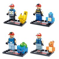 Wholesale 4pcs set Pocket Monster Pikachu Action Figures Building Blocks Bricks with card Compatible toys