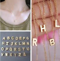 initial charms - 2015 New Fashion DIY Letter Charm Pendant Necklace Women Simple Clavicle Chain Necklace