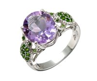 Wholesale Ct Oval African Amethyst Chrome Diopside Sterling Silver Tortoise Ring For Women Size
