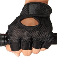 Wholesale 1 Pair Training Body Building Gym Weight Lifting Sport Fingerless Half Finger Gloves Microfiber Fabric Mittens