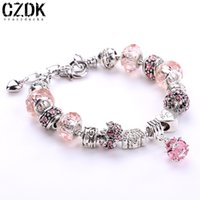 Cheap Wholesale-12 Colors Fashion 925 Silver Daisies Murano Glass&Crystal European Charm Beads DIY Style Bracelets Adjustable