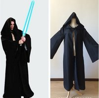 Wholesale Star Wars Costume Hooded Robe Adult Cosplay Jedi Kinight Black Cloak Cape for Men anime cosplay costume S XL