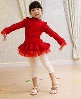 Wholesale 4 colors Autumn Children Girls Long Sleeve Sweater Patch Tutu Organza Dresses Girl Princess Dressy Childs Clothing Out Wear High Quality