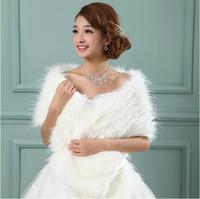 Wholesale Stylish Ravishing Long Faux Fur Winter Warm Wedding party bridal wrap shrug stole shawl Cape Wedding Jacket Bolero Bridal bridesmaid Coats