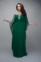 Cheap Saudi Arabic Abaya Emermald Green Evening Dresses With Long Sleeves A Line Scoop Chiffon Ladies Dubai Kaftan Formal Gowns For Prom Skirt