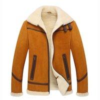 pelle pelle jackets - Fur Collar Real Genuine Leather Jacket Men Soft Fleece Mens Shearling Coats Winter Slim Fit Sheepskin Suede Jackets Pelle pelle