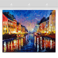 abstract painting style - Old Harbor Palette Knife Oil Painting Landscape Style Printed On Canvas Riverside Scenery Works