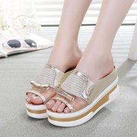 Women Wedge Patent Leather NEW Rhinestone wedges shoes platform sandals women eur size 35-39