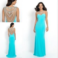 Wholesale Gorgeous Sky Blue Evening Dresses Sheer Crew Sheath Backless With Beaded Crystal Sexy Wedding Party Prom Gowns Custom Made Size Color