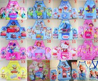 Wholesale Frozen Fever Aprons Set kids Childrens Cartoon Cooking Art Painting Apron Aprons Oversleeves big hero sofia mickey apron16 styles