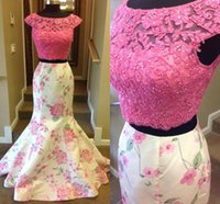 beautiful prom dresses - 2016 Beautiful Two Pieces Prom Dresses with Cap Sleeves Real Images High Neck Sequins Lace Print Satin Mermaid Prom Gowns