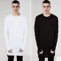 basic long sleeve shirts - Spring and Autumn Lengthen Cotton Basic Men T Shirts Hip Hop Fashion Kanye Trill Thumbhole Arc Hem Men Casual Tee Black Grey White S XL