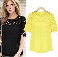Wholesale 5pcs Plus Size Women s Round Neck Chiffon Hollow Out Zipper Lace Top Short Sleeve Black White Yellow Color Shirt Lady s Blouses Shirts