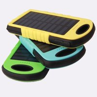 Wholesale 5000mAh Solar Charger and Battery Solar Panel waterproof shockproof portable power bank for Mobile Cellphone Laptop Camera MP4