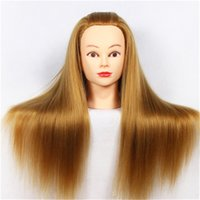 Wholesale 18 quot Hair Mannequin Head Hair Fake Hairdressing Doll Heads Training Manikin with Synthetic Hair Manik Cosmetology Educational sale