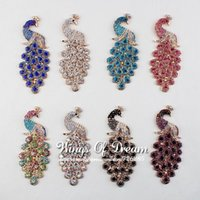 Wholesale Colors Handmade Metal Rhinestone Peacock Button Alloy Crystal Flatback Peahen Buttons For Wedding Embellishment