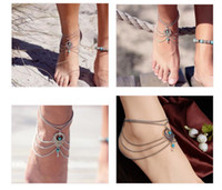 Cheap Wholesale-Boho Ethnic Turquoise Beads Anklet Chic Tassel Foot Chain Ankle Bracelet Body Jewelry Anklets For Women Free Shipping