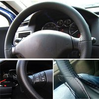 Wholesale 1pcs Black DIY Car Steering Wheel Cover With Needles and Thread Artificial leather
