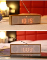 Precio de Cajas de madera relojes-Bambú de madera Nuevo portátil Mini Bluetooth altavoz 4.5W estéreo caja de sonido Mp3 reproductor de música inalámbrico manos libres radio FM, NFC, AUX, despertador