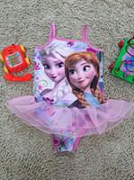 Cheap Cute Fashion Frozen Swimming Costume One Piece Swimsuit for Girls Princess Elsa&Anna Girl Swimwear