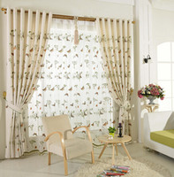 Wholesale Linen semi shade cloth curtain screens living room bedroom linen cotton yarn home textiles curtain embroidery