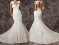 wedding gown detachable train - Detachable crew collar lace covered button sleeveless wedding dresses garden sweep train pretty bridasl gowns wedding gowns