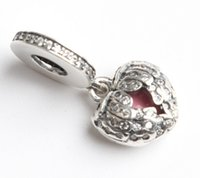 Wholesale Fits Pan Bracelets rhinstone wing heart Silver dangle Beads Cubic Zirconia Sterling Silver Charms for DIY Jewelry