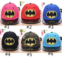 sport hat visor - Unisex Children Hip Hop Snapback Batman Sunny School Caps Boys Girls Sport Baseball Visor Sun Hats Summer Kids Brand Cartoon Hats ZJ16 C01