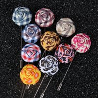 asian style wedding dresses - Cloth Rose Men Brooches Pins for Dresses In Stock Cheap Korean Style Fashion Camo Flower Brooche Collar Pins For Sale Bulk