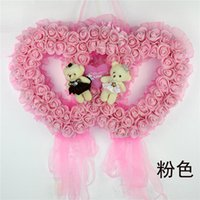 animal bear cakes - 50cm cm Bear Ring Marriage Room Layout Simulation Roses Wedding Supplies Ornaments