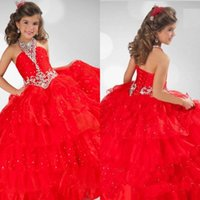 Organza Halter Sleeveless 2016 Glitz Red Ball Gown Beaded Crystal Girls Pageant Dresses for Little Girls Halter Ruched Tulle Floor Length Cheap Flower Girls Dresses