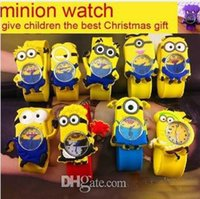 Wholesale Best Gift New Silicone Slap Boy Girls Wristwatch Despicable Me Kids Yellow Minion Watch Children D Cartoon watches Hot Selling